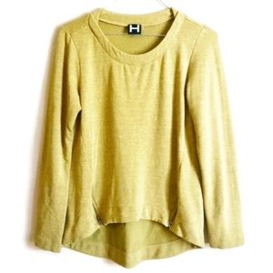 H By Bourdox Yellow Zipper Pullover Sweater